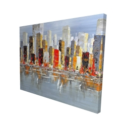 Canvas 48 x 60 - 3D - Colorful buildings with water reflection