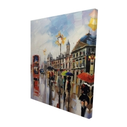 Canvas 48 x 60 - 3D - Colorful street with red bus