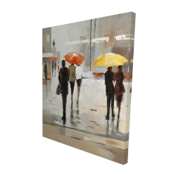 Canvas 48 x 60 - 3D - Abstract passersby with umbrellas