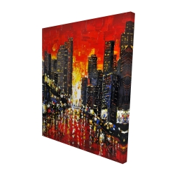 Canvas 48 x 60 - 3D - Abstract sunset on the city