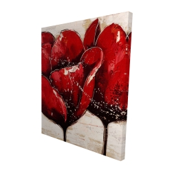 Canvas 48 x 60 - 3D - Red tulips closeup