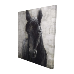 Canvas 48 x 60 - 3D - Black horse