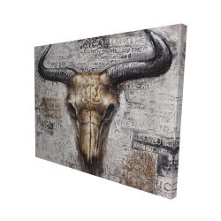 Canvas 48 x 60 - 3D - Bull skull with typography