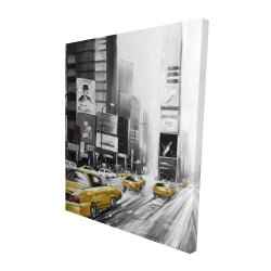 Canvas 48 x 60 - 3D - Times square and yellow taxis