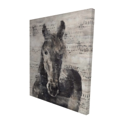 Canvas 48 x 60 - 3D - Abstract horse with typography