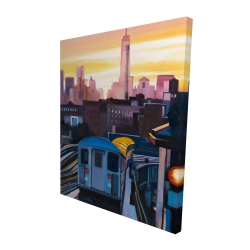 Canvas 48 x 60 - 3D - Sunset over the subway in new-york