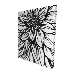 Canvas 48 x 60 - 3D - Dahlia flower outline style