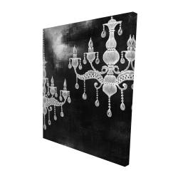 Canvas 48 x 60 - 3D - White chandeliers