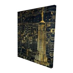 Canvas 48 x 60 - 3D - Gold city blue print