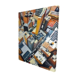 Canvas 48 x 60 - 3D - High top view of buildings in new york
