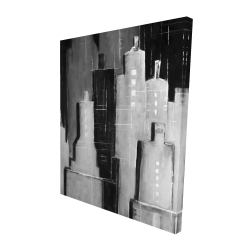 Canvas 48 x 60 - 3D - Abstract black and white cityscape