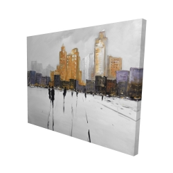 Canvas 48 x 60 - 3D - Silhouettes walking towards the city