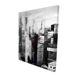 Canvas 48 x 60 - 3D - White city with paint splash