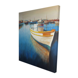 Canvas 48 x 60 - 3D - Fishing boats at the marina
