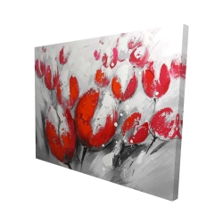 Canvas 48 x 60 - 3D - Red tulips