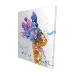 Canvas 48 x 60 - 3D - Abstract giraffe with color splash