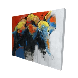 Canvas 48 x 60 - 3D - Colorful abstract moving elephant