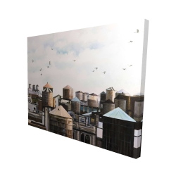 Canvas 48 x 60 - 3D - Water towers with birds