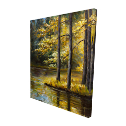 Canvas 48 x 60 - 3D - Fall landscape by the water
