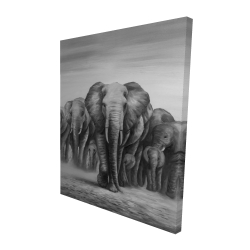 Canvas 48 x 60 - 3D - Herd of elephants