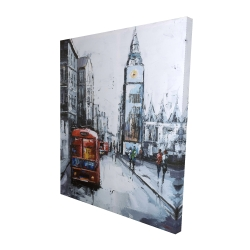 Canvas 48 x 60 - 3D - Abstract london and red bus