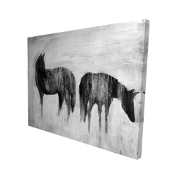 Canvas 48 x 60 - 3D - Horses silhouettes in the mist