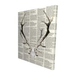 Canvas 48 x 60 - 3D - Deer horns on newspaper