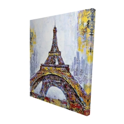 Canvas 48 x 60 - 3D - Abstract paint splash eiffel tower