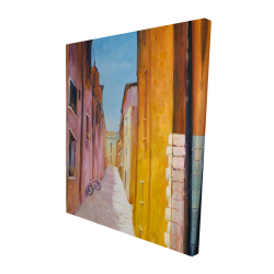 Canvas 48 x 60 - 3D - Colorful houses in the streets of collioure
