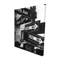 Canvas 48 x 60 - 3D - New york city signs in front of an appartment