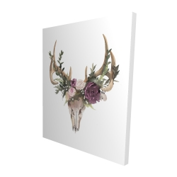 Canvas 48 x 60 - 3D - Deer skull with flowers
