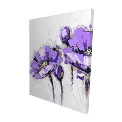 Canvas 48 x 60 - 3D - Purple abstract flowers
