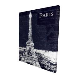 Canvas 48 x 60 - 3D - Paris blue print and eiffel tower