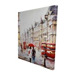 Canvas 48 x 60 - 3D - European street by a rainy day