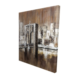 Canvas 48 x 60 - 3D - Aged finish brooklyn bridge