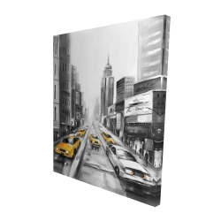 Canvas 48 x 60 - 3D - Yellow taxis in new york