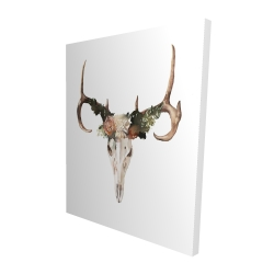 Canvas 48 x 60 - 3D - Deer skull with roses