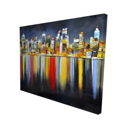 Canvas 48 x 60 - 3D - Colorful reflection of a cityscape by night