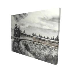 Canvas 48 x 60 - 3D - Steam engine train
