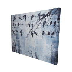 Canvas 48 x 60 - 3D - Abstract birds on electric wire