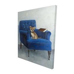 Canvas 48 x 60 - 3D - Chihuahua on a blue armchair