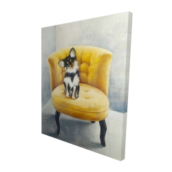 Canvas 48 x 60 - 3D - Long-haired chihuahua on a yellow armchair
