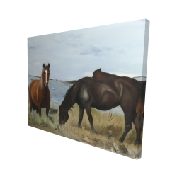 Canvas 48 x 60 - 3D - Horses eating in the meadow