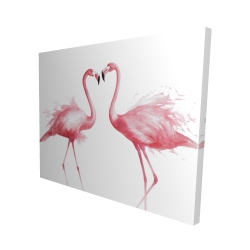 Canvas 48 x 60 - 3D - Two pink flamingo watercolor