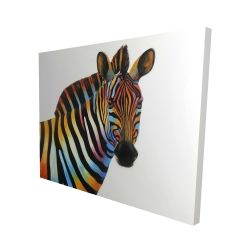 Canvas 48 x 60 - 3D - Colorful profile view of a zebra