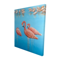 Canvas 48 x 60 - 3D - Group of flamingos