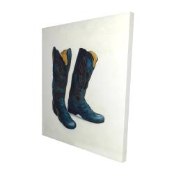 Canvas 48 x 60 - 3D - Leather cowboy boots