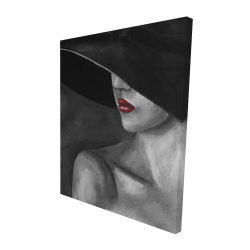 Canvas 48 x 60 - 3D - Mysterious woman with a hat