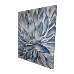 Canvas 48 x 60 - 3D - Blue and gray flower