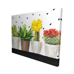 Canvas 48 x 60 - 3D - Small cactus and succulents
